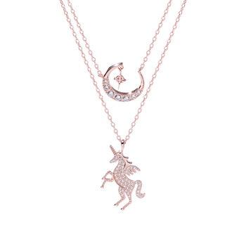Silver Zircon Unicorn Necklace