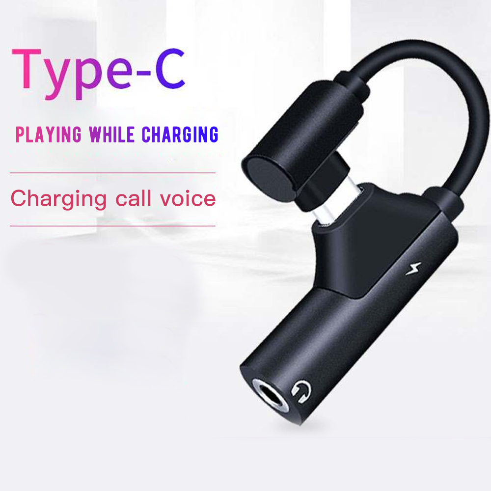 2 In 1 Type C To 3.5mm Adapter Audio Jack Headphones Cable Sync Charging Cable USB Type-C To Jack Aux For Xiaomi Mi 9 8 SE