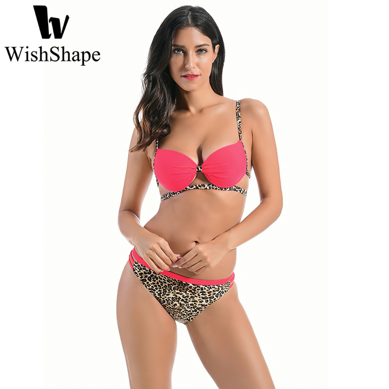 где купить Swimsuit Triangle Bikini Sets Push Up Bathing Suit Sexy Swimwear Women Brazilian Biquini Set Leopard Print Beach Swimming Suits дешево