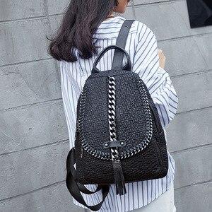 Image 4 - QINRANGUIO Genuine Leather Backpack Tassel Women Backpack 2020 New Design Chains School Backpacks for Teenage Girls Mochila