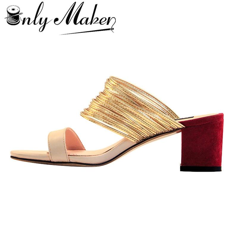 Onlymaker المرأة كتلة الكعب البغال مفتوحة اصبع القدم مكتنزة منتصف كعب Strappy و صندل التباين اللون شبشب أحذية US12-في كعب عالي من أحذية على  مجموعة 1