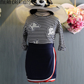 Ropa de las muchachas Set Tops + Faldas 2017 Niños Primavera Ropa Niñas Chándal Impresas Niñas Trajes Niños Ropa Vetement Fille