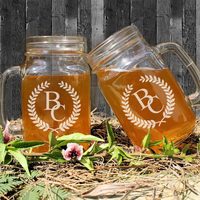 Custom Initials Fashion Marson Jars for Drinking High Capacity Glass Jar with Handle Suitable for Wedding and Bithday Party Deco