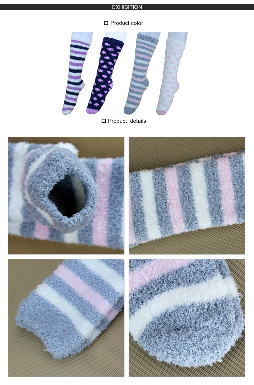 High Indoor Women Socks Soft Warm Spring Winter Brand Thick Striped Compression Hosiery Long Ladies Cosy Home Slipper Socks 2PK 5