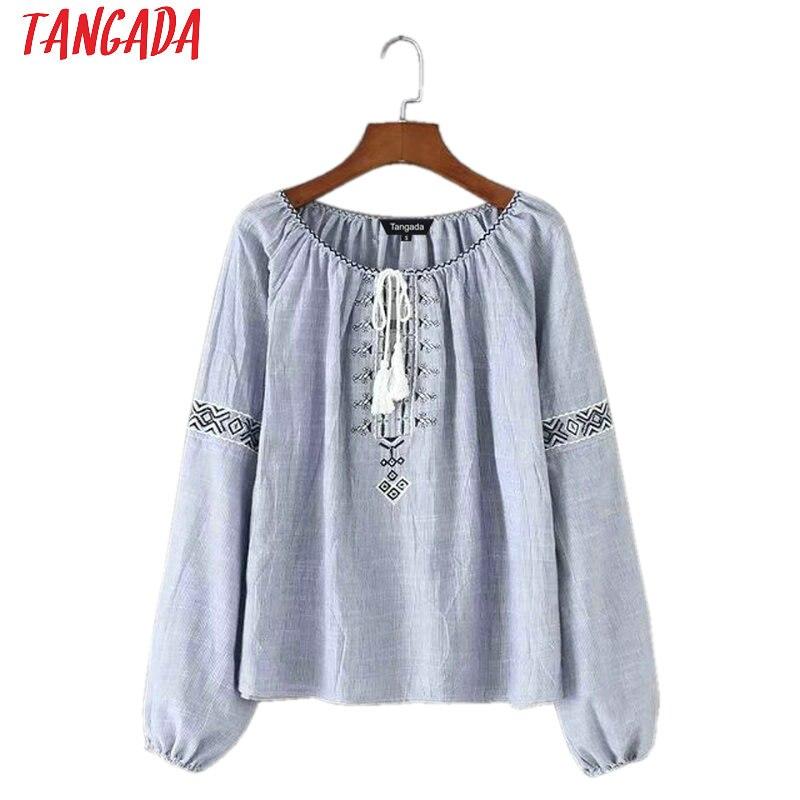 Tangada Spring Women Cotton Blouses Vintage Flower Embroidery Blue Striped Shirts O neck Boho Style Retro Ladies Top TB40