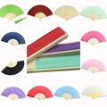 10pcs* Personalized Ladies Bamboo & Raw Silk Fan Hollow Out Hand Folding Fans Outdoor Dancing Wedding Party Favor PSF01
