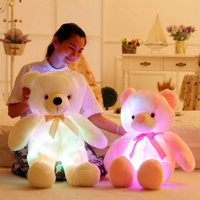 Hot 2017 Creative Light Up LED Teddy Bear Children Stuffed Animals Plush Toy Colorful Glowing Teddy Bear Christmas Gift for Kids image
