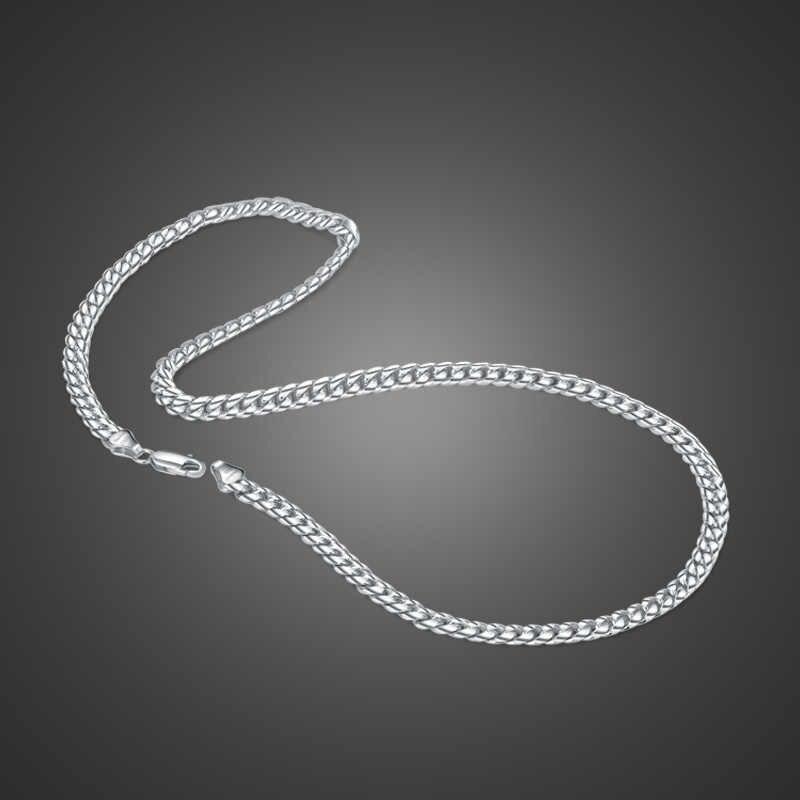 Authentic 100% 925 Sterling Silver Bạc Curb chuỗi vòng cổ Cho nam giới và chàng trai Rắn bạc 6 mét 18-22 inch cuba chuỗi Đồ Trang Sức Sang Trọng
