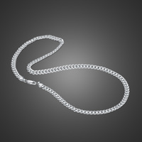 Authentic 100% 925 Sterling Silver Curb chain necklace For men & boys Solid silver 6MM 18 22 inch Cuban chain Luxury Jewelry