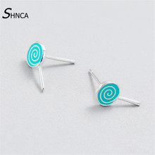 High Quality 100% 925 Sterling Silver Cute Blue Drop Glaze Lollipop Stud Earrings For Women Girl Creative Jewelry Gift E176