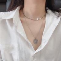 925 Sterling Silver Cross Stars Necklace Choker Thai Silver Tank Chain Texture Z7554