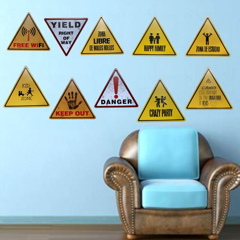 Wifi livre perigo de metal sinais irregulares vintage placa publicidade parede pub café decoração da arte para casa 34x30 cm U-5