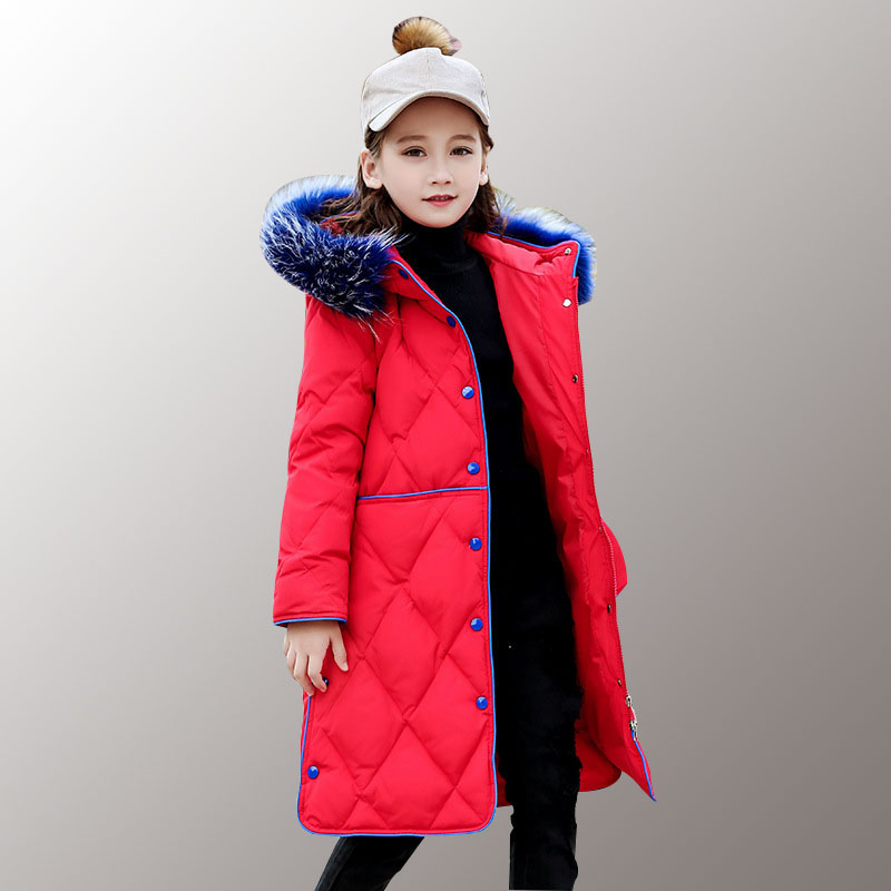 Girl Down Coat Winter Kids Duck Down Jacket for Girl with Fur Hooded Camouflage Jacket Parka Warm Outwear for 6 8 10 12 14 Years 2018 winter jacket male coat warm duck down zipper ski jacket outwear middle long parka with fur hooded thick 4 colors jackets