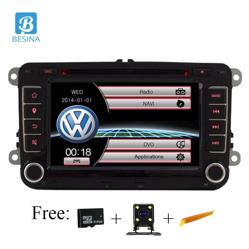 Besina 7 pouce 2 din Voiture DVD GPS radio stéréo lecteur pour Volkswagen VW golf 6 touareg T5 passat B6 sharan Touran polo tiguan Siège