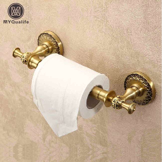 Best Quality Brass Antique Toilet Pemegang Kertas Wall Mount 100% Brass Bathroom Toilet Tissue Paper Rack black of toilet paper all copper toilet tissue box antique toilet paper basket american top hand cartons page 7