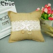 Ctrue 1PCS 18cmX18cm burlap &Lace Ring Pillow Hessian ring pillow rustic wedding centerpieces vintage decoration