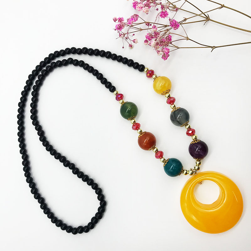 Korean beaded long necklace female sweater chain fashion 2019 tassel pendant mothers day gift ornaments