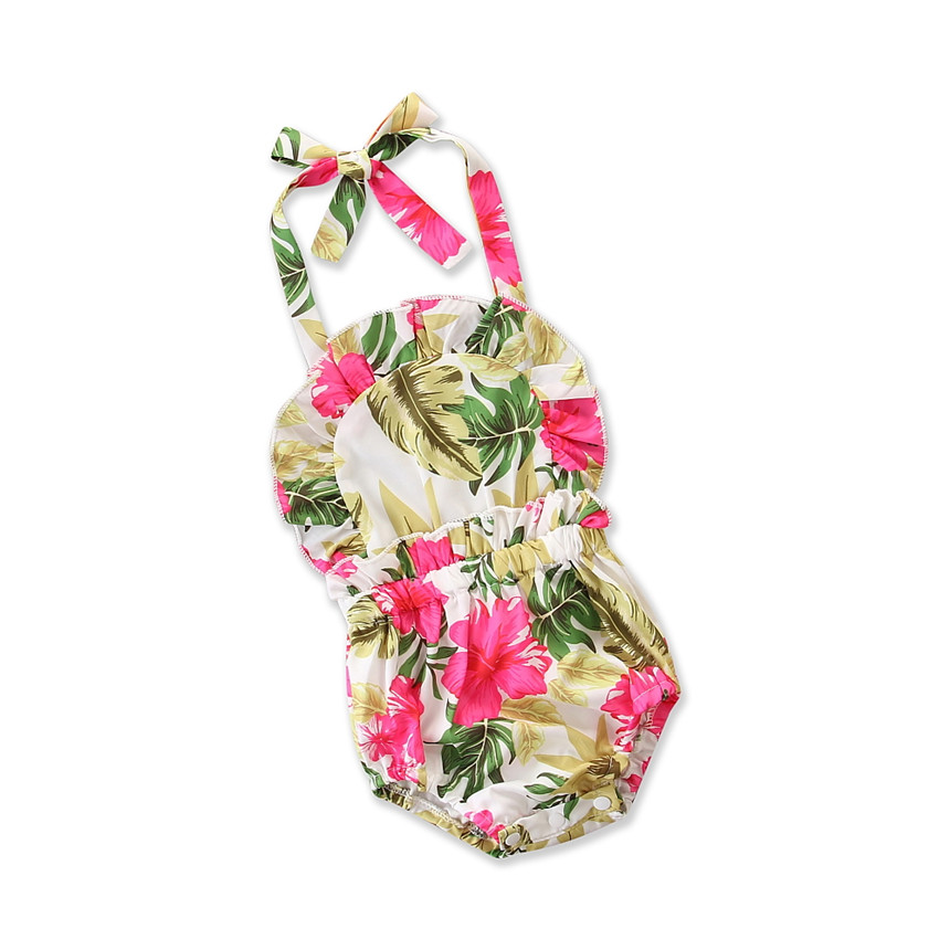 Baby Girl Romper Floral Print Jumpsuit Toddler Girls Summer Clothing Kids Playsuit Elastic Waist Newborn Infant Clothes 0-24M