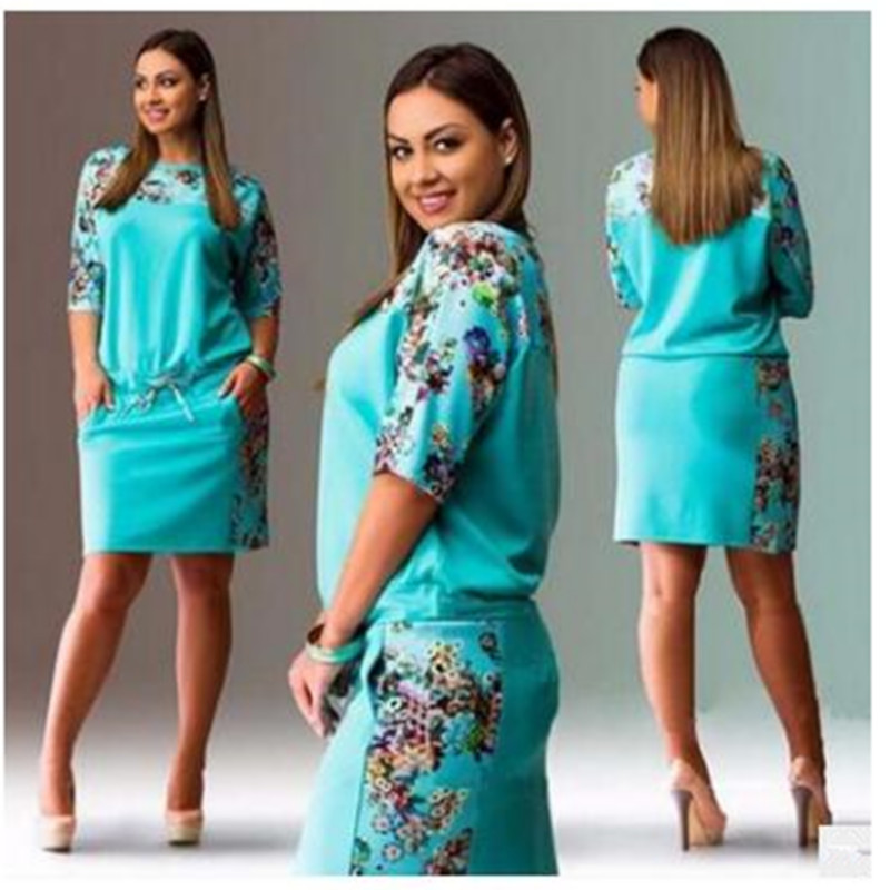 2017 High quality brand fashion summer Plus Size dress women clothing floral print pattern casual dresses