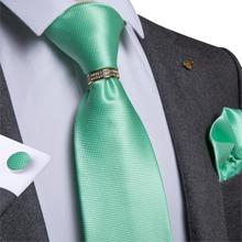 Mens Necktie Green Solid Wedding Tie For Men Ring Hanky Cufflink Silk Set DiBanGu New Designer Business JZ-03-371