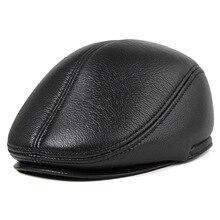 Для Мужчин's шляпа из натуральной кожи Кепки мужские кепки шляпа мужской на зиму и осень, теплые уличные кожаные Кепки женская кожаная кепка B-8804