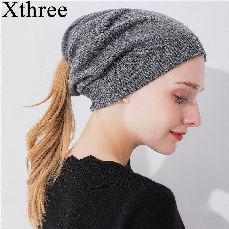 Xthree invierno mujeres ponytail gorros sombrero de lana de punto sombreros  de la muchacha de dos pisos caliente mujer otoño sombrero 274ed845d11