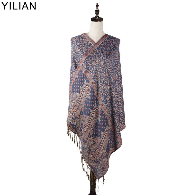 0.23kg YILIAN Brand Print Paisley Retro Persian Pattern Shawl Women Autumn And Winter Fashion Cotton Scarf For Lady LL002