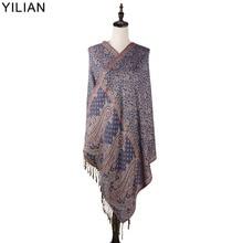 0.23kg YILIAN Brand Print Paisley Retro Persian Pattern Shawl Women Autumn and Winter Fashion Cotton Scarf for Lady LL002
