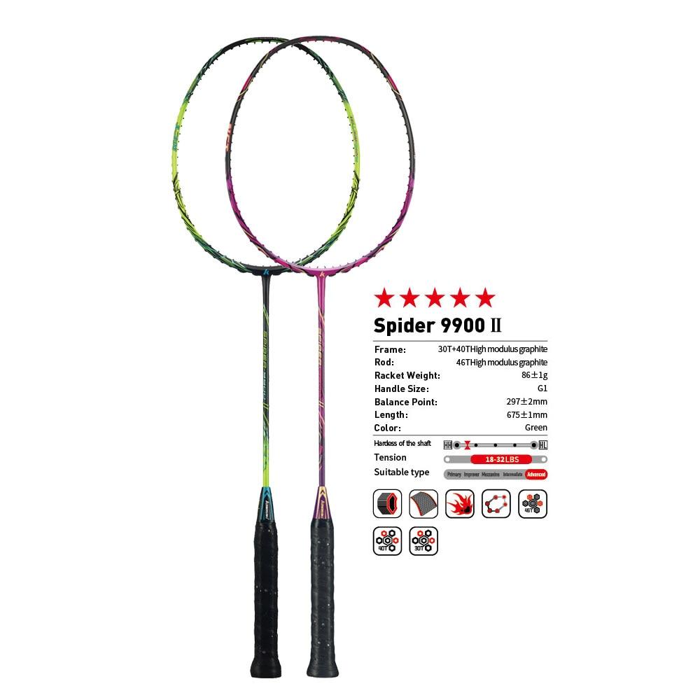 Original Kawasaki Badminton Rackets  Spider 9900 II Graphite Fiber 3U Offensive Type Racket For Professional Player Racquet Gift