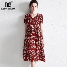 ネック半袖サッシベルト花プリントファッションカジュアル夏ドレス V シルクの女性の滑走路ドレス 100%