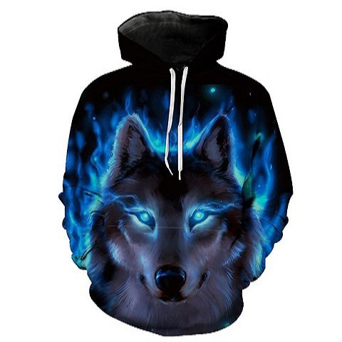 Blue Wolf Hoodies Hooded Unisex Hat 3D Sweatshirts Print Colorful