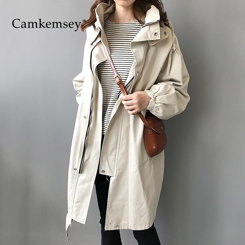 CamKemsey Autumn Women Casual   Trench   Coats 2019 Spring Fashion Big Pockets Hooded Long Cargo Coats Female Loose Overcoats