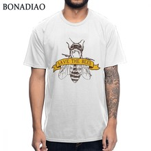 Pure Cotton High-Q Save The Bees Beekeeper T shirt Men Unique Design S-6XL Homme Tee Shirt(China)
