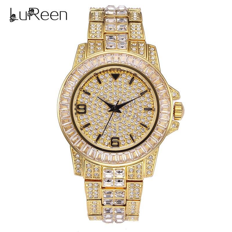 Lureen De Luxe Iced Out montre quartz femme Hommes Plein de Diamants montre étanche Horloge hip hop Style Or Montre-Bracelet Cadeau