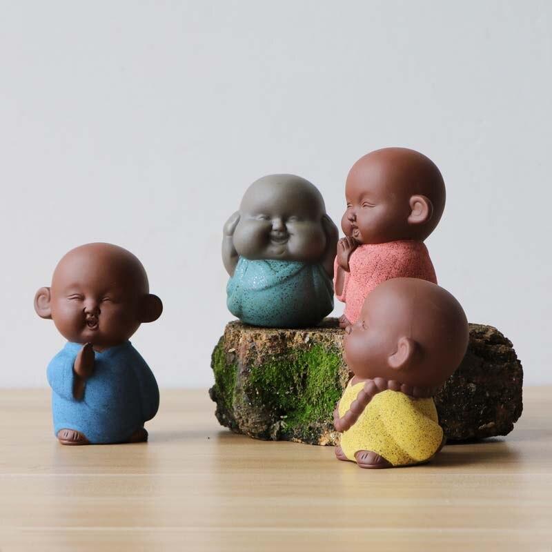 Chinois chanceux mignon moine Maitreya bouddha coloré violet argile thé Pet décoration Articles bonsaï décor Figurines ornements de jardin