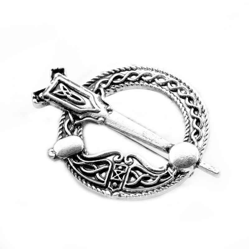 Silver Celtic Cross Scottish Thistle Sword Brooch Shawl Cloak Lapel Pin Viking