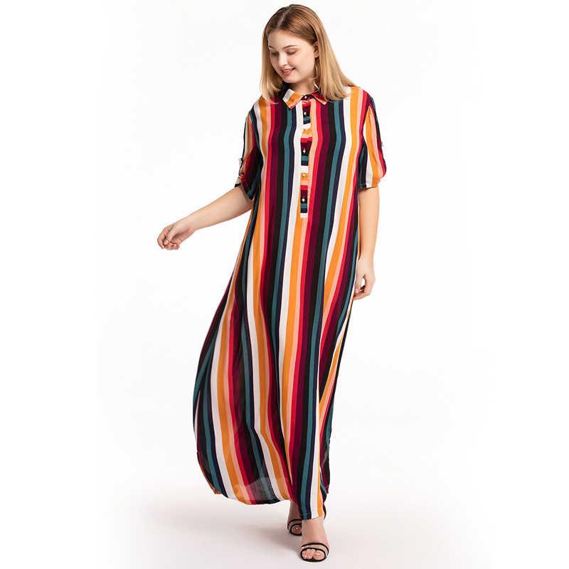 Vestidos Mujer Verano 2019 Cộng Với Kích Thước Thời Trang Mùa Hè Phụ Nữ Maxi Áo Sơ Mi Sọc Ăn Mặc Cầu Vồng Màu Dress Vestido Longo Elbise