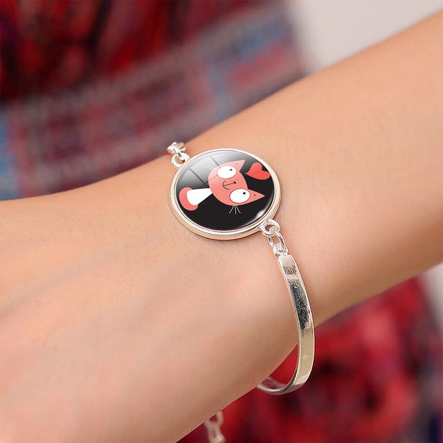 Women's Glass Cat Pendant Bracelets
