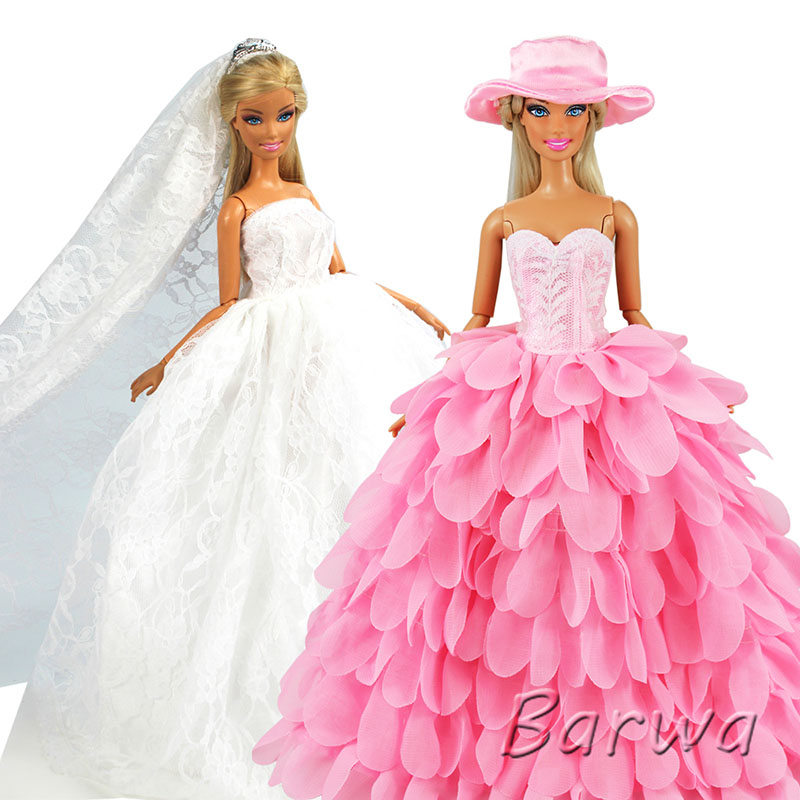 Handmade Fashion Pink White Dress With Hat Wedding Evening Princess Party Clothes Wears Dress Outfit Set For Barbie Doll Gift