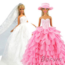 Newest Fashion Handmade Pink White Dress With Hat Wedding Evening Princess Party Clothes Doll accessories For Barbie Doll Gift(China)