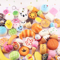 10PCS Random Squishy Panda Bread Ice Cream Slow Rising Cute Phone Straps Cake Buns Pendant Toy