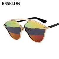 RSSELDN High Quality Women Polarized Sunglasses 2017 Multicolor Lens Reflective Cat Eye Sun Glasses For Men