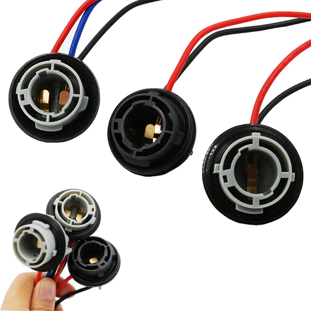 5pcs Universal 1157 BAY15D LED Light Lamp Bulb Socket Holder With Wire Connector