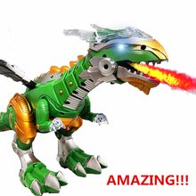 Shocking Electric Interactive Spray Dinosaurs Toys Talking Walking Fire Dragon Boy Kids Toy Christmas Gift Fine Electronic Pets(China)
