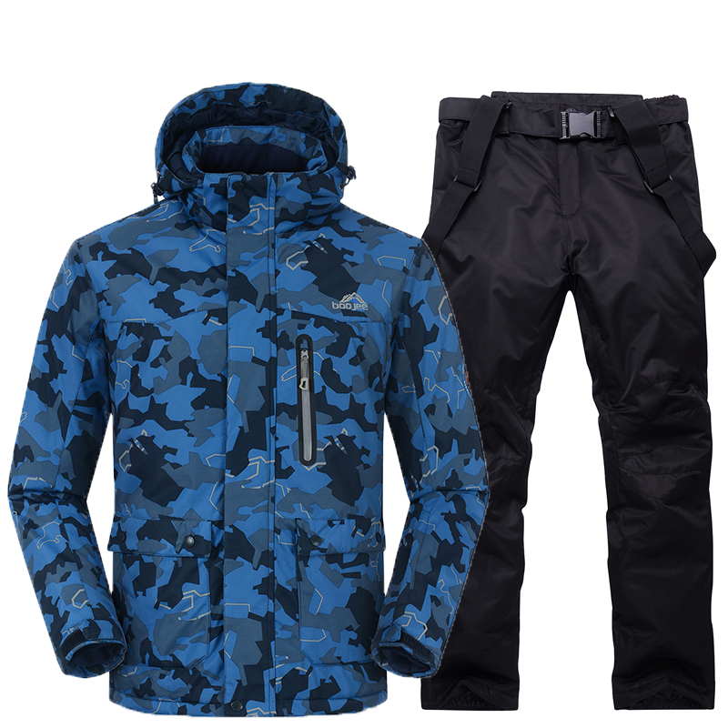 Man Snow Jackets Outdoor sports Snowboarding suit Clothing Waterproof windproof -30 Warm Costume jacket + pant ski suit set