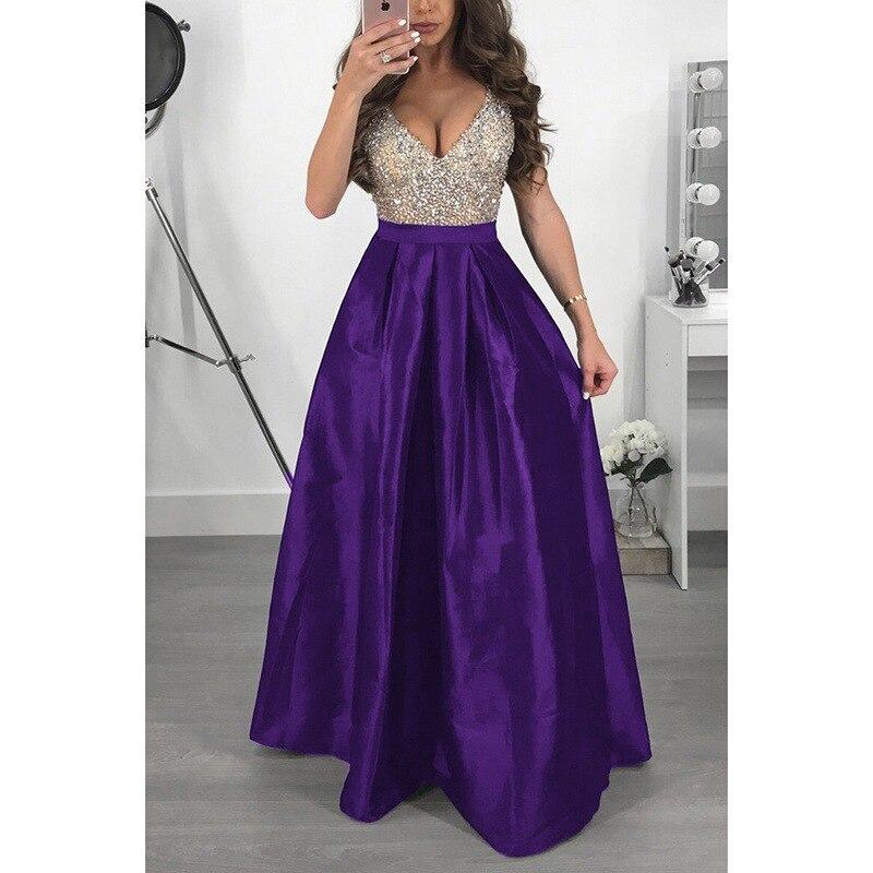 Elegante lantejoulas formal vestido de festa de noite feminino uma linha vestidos de ocasião longa vestido de festa com decote em v sleveless lady prom vestidos