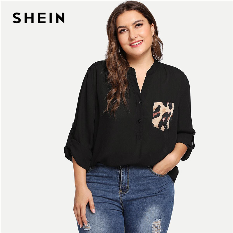SHEIN Black Leopard Print Pocket Patched Roll Tab Sleeve V Neck Office Lady Plus Size Blouses Women Casual Half Placket Shirts