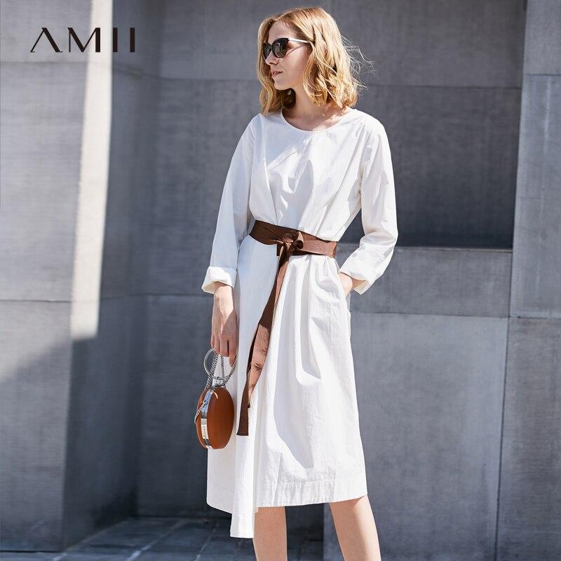 4909b4ce55d Amii для женщин Минималистский платье 2018 100% хлопок трапециевидной формы  с круглым вырезом длинным рукавом по колено женские платья