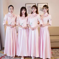 Pink Bridal Bridesmaid Cheongsam Modern Traditional Chinese style Wedding Dress Oriental Women's Long Qipao Vestidos S XXL
