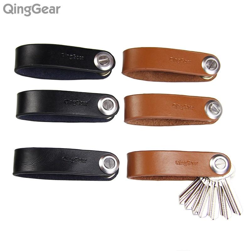 6 TEILE / LOS QingGear Lkey Leder Autoschlüsselhalter Edc Türschlüssel Clip Getriebe und Praktische Outdoor Travel Key Organizer Werkzeug